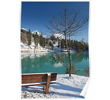 Lakeside Bench in Snow  Poster