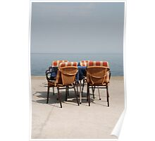 Chairs and Table at Seafront  Poster