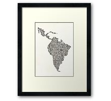 lettering map of Latin America 2015 Framed Print