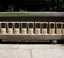 Row of Water Buckets Outside Shrine  by jojobob