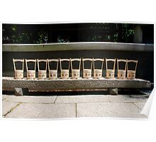 Row of Water Buckets Outside Shrine  Poster