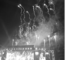 WWA Philly 8/13 Fireworks B&W by Emlyn  Orr