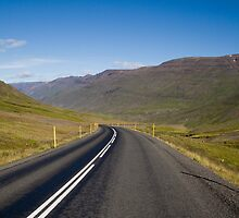 Road winding through Öxnadalur, Iceland by hinomaru