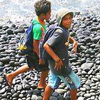 Tahiti: Boys on the Beach near Papeete by Laurel Talabere