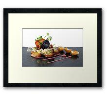 black pudding, bacon and quails eggs Framed Print
