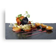 black pudding, bacon and quails eggs Canvas Print