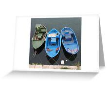 Three Wooden Fishing Boats  Greeting Card