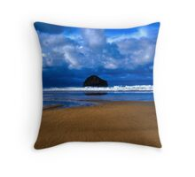 Gull Rock Trebarwith Strand Throw Pillow
