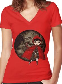 Little Red Capuccine Women's Fitted V-Neck T-Shirt