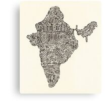 Lettering map of India Canvas Print