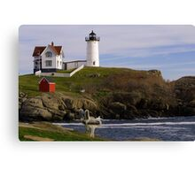Sit and Enjoy the Beauty of Nubble Lighthouse Canvas Print
