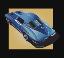 1963 Corvette Stingray Split Window Blue on Yellow by Frank Schuster