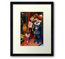 Woody Allen and Keith Richards in Papier Mache Framed Print