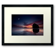 Moonset at Cannon Beach Framed Print