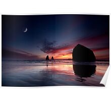 Moonset at Cannon Beach Poster
