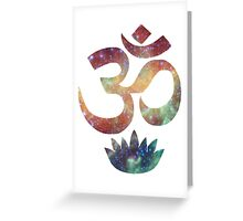 Buddhist Om and Lotus Flower Greeting Card