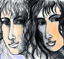A Drawing of Imaginary Women #3 – With Touches of Pale Orange and Blue-Violet by Ivana Redwine
