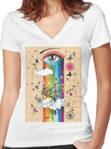 Surreal Eye2 Women's Fitted V-Neck T-Shirt