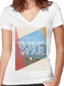 Travel Wide & Far Women's Fitted V-Neck T-Shirt