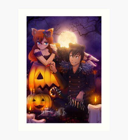 Halloween with Ada & Faust Art Print