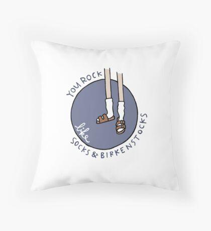 Socks & Birkenstocks Throw Pillow