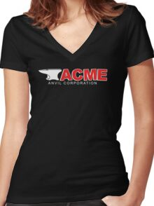 Acme Anvil Corporation Funny T-Shirt Women's Fitted V-Neck T-Shirt