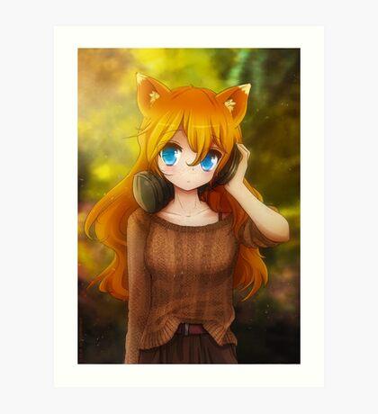 Ada with headphones Art Print
