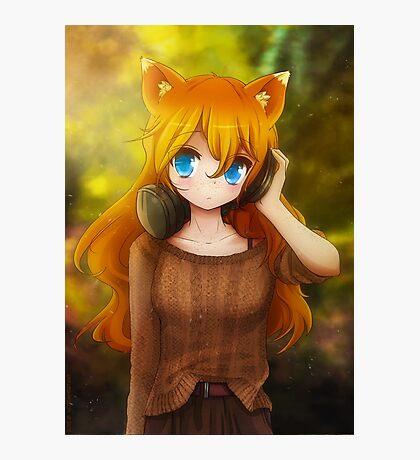 Ada with headphones Photographic Print