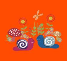 Kids Cute Fantasy Fairytale Snail Garden Kids Tee