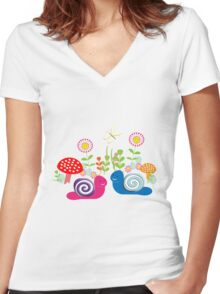 Kids Cute Fantasy Fairytale Snail Garden Women's Fitted V-Neck T-Shirt