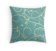 Cream Swirls on Teal Damask Background Throw Pillow
