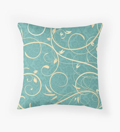 Cream Swirls on Teal Damask Background Throw Pillow