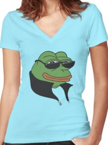 Cool Pepe t-shirt - Pepe the Frog Women's Fitted V-Neck T-Shirt