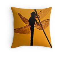 Dragonfly in sunset Throw Pillow