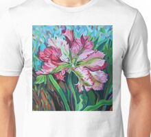 tulip in graphic style and abstract background Unisex T-Shirt