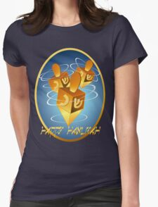 Framed Happy Hanukkah Dreidels Womens Fitted T-Shirt