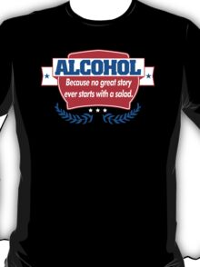 Funny Alcohol Salad T-Shirt Comedy Tees Humor Vintage T-Shirt