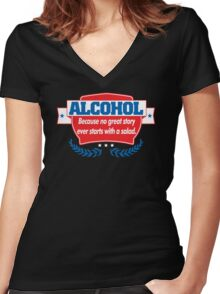 Funny Alcohol Salad T-Shirt Comedy Tees Humor Vintage Women's Fitted V-Neck T-Shirt