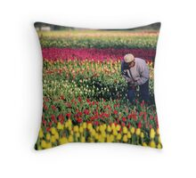 Picking the good ones on a tulip farm Throw Pillow