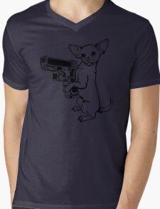 Armed Chihuahua Funny TShirt Epic T-shirt Humor Tees Cool Tee Mens V-Neck T-Shirt