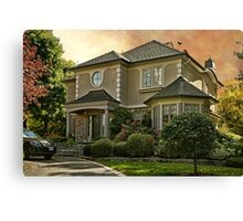 Stucco House in Autumn Canvas Print