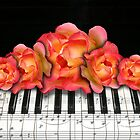 Piano Music Notes and Roses by dreamlyn