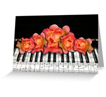 Piano Music Notes and Roses Greeting Card