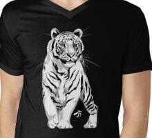 Stately White Tiger Mens V-Neck T-Shirt