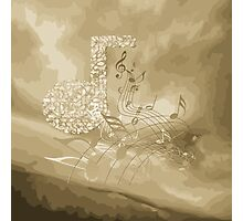 Gold Music Notes Abstract Photographic Print
