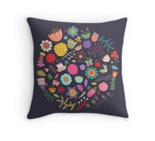Bright Colored Flowers Floral Design Pattern Background Throw Pillow