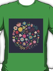 Bright Colored Flowers Floral Design Pattern Background T-Shirt