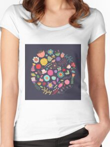 Bright Colored Flowers Floral Design Pattern Background Women's Fitted Scoop T-Shirt