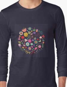 Bright Colored Flowers Floral Design Pattern Background Long Sleeve T-Shirt