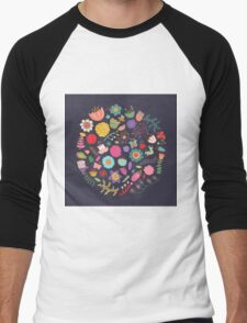 Bright Colored Flowers Floral Design Pattern Background Men's Baseball ¾ T-Shirt